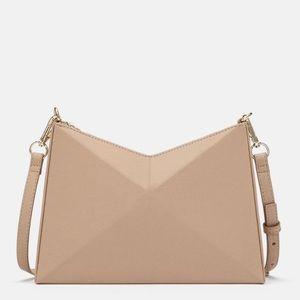 Zara   Tan Geometric Crossbody Bag